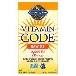 Garden of Life, Витаминный код, сырой D3, 2 000 МЕ, 60 вегетарианских капсул