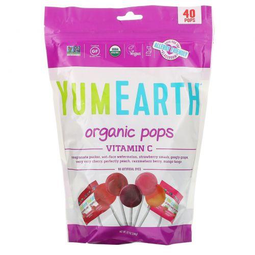 YumEarth, Organic, шипучие конфеты с витамином С, ассорти вкусов, 40 конфет, 8,5 унции (245 г)