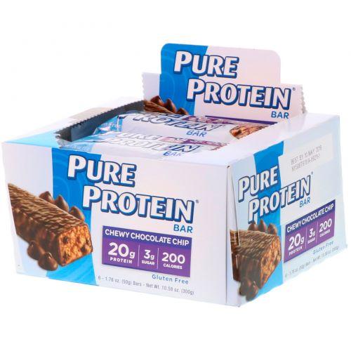 Pure Protein, Жевательный батончик с шоколадной крошкой, 6 батончиков, 1,76 унции (50 г) каждый