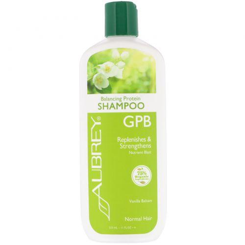 Aubrey Organics, Балансирующий шампунь с GPB и протеином, Питательный заряд, для нормальных волос, 11 жидких унции (325 мл)