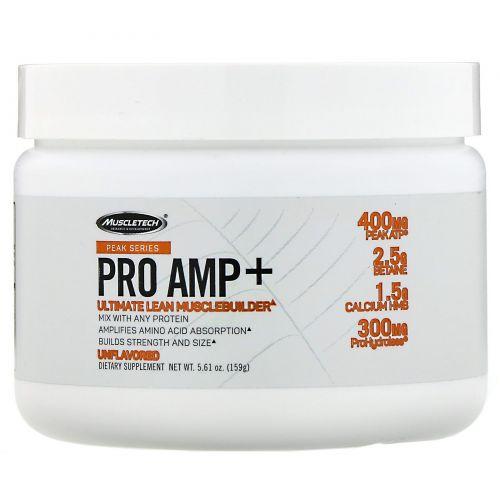 Muscletech, PeakSeries, ProAmp+, оптимальное средство для увеличения сухой мышечной массы, без добавок, 159г (5,61унции)