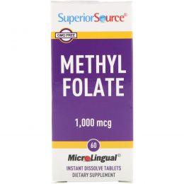 Superior Source, Метилфолат, 1000 мкг, 60 быстрорассасывающихся компактных таблеток MicroLingual
