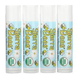 Sierra Bees, Органические бальзамы для губ, без ароматизаторов, 4 в упаковке, .15 унц. (4,25 г) в каждом