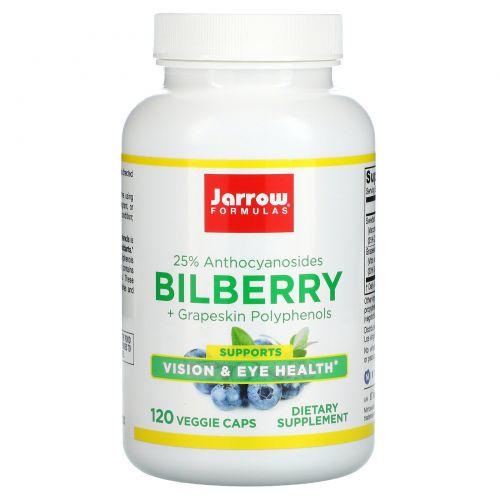 Jarrow Formulas, Комплекс черники и полифенолов из кожуры винограда, 280 мг, 120 овощных капсул