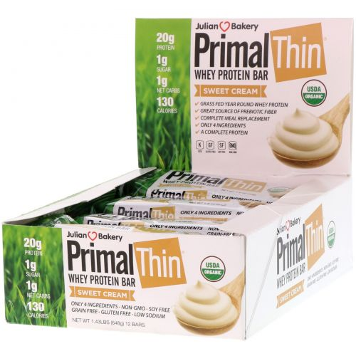 The Julian Bakery, Primal Thin Protein Bar, Sweet Cream, 12 Bars, 1.9 oz (54 g) Each