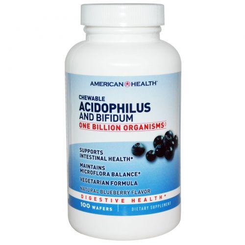 American Health, Ацидофилус и Бифидус в жевательной форме, натуральный вкус черники, 100 пластинок