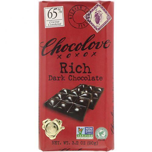 Chocolove, Насыщенный темный шоколад, 3,2 унции (90 г)
