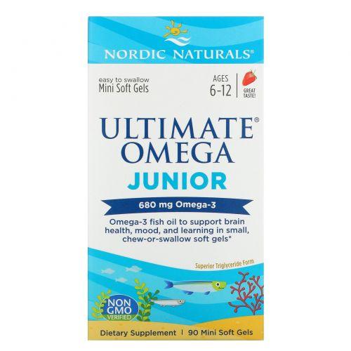 Nordic Naturals, Ultimate Omega, Junior, 500 мг, 90 жеательных таблеток в мягкой оболочке