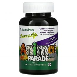 Nature's Plus, Source of Life,  Animal Parade, Children's Chewable Multi-Vitamin & Mineral Supplement, Grape, 90 Animal-Shaped Tablets