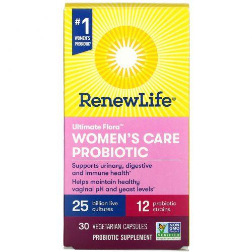 Renew Life, UltimateFlora, пробиотик Women's Care для женского здоровья, 25млрд живых культур, 30вегетарианских капсул