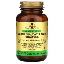 Solgar, Комплекс эхинацеи, желтокорня и кошачьего когтя, 60 вегетарианских капсул