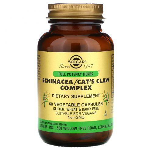 Solgar, Комплекс эхинацеи и кошачьего коготя (ункария опушённая), 60 растительных капсул
