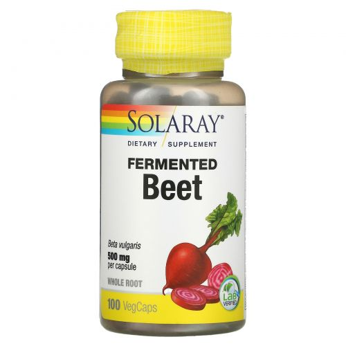 Solaray, Organically Grown Fermented Beet , 500 mg , 100 Veggie Caps