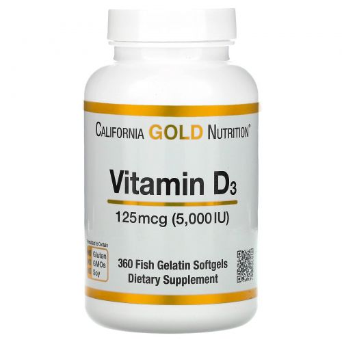 California Gold Nutrition, Витамин D3, 5,000 МЕ, 360 желатиновых капсул из рыбы