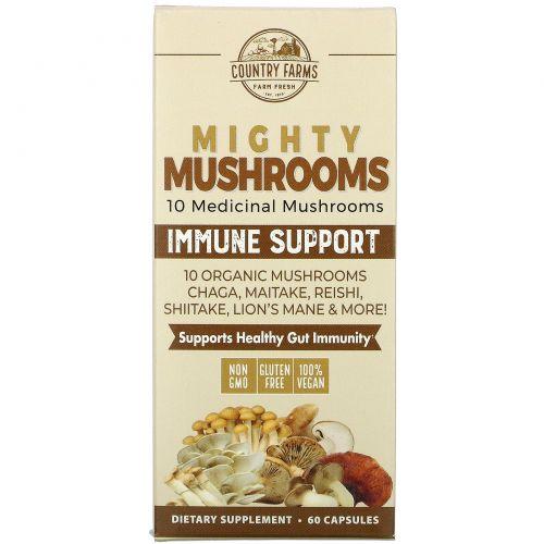 Country Farms, Super S'hrooms, органические грибы, лечебная суперпища, 60 капсул