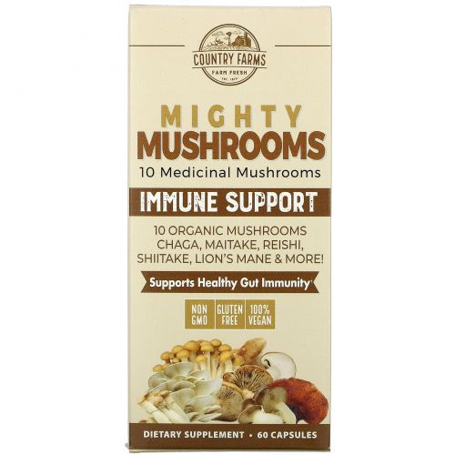 Country Farms, Super S'hrooms, Organic Mushrooms, Medicinal Superfood, 60 Capsules