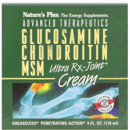 Nature's Plus, Передовое лечение, глюкозамин, хондроитин и метилсульфонилметан, Ультра Rx крем для суставов, 4 жидких унции (118 мл)