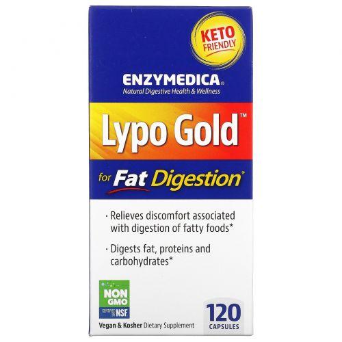 Enzymedica, Lypo Gold, оптимизация усвоения жиров, 120 капсул
