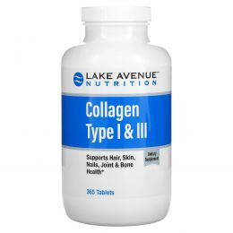 Lake Avenue Nutrition, Hydrolyzed Collagen Type 1 & 3, 1,000 mg, 365 Tablets