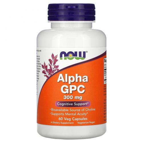 Now Foods, Альфа-GPC (альфа-глицерофосфохолин), 300 мг, 60 капсул