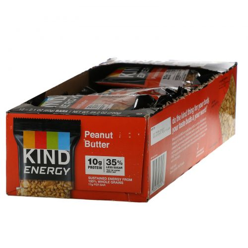 KIND Bars, Energy, Peanut Butter, 12 Bars, 2.1 oz (60 g) Each