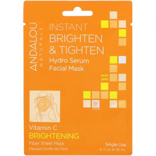 Andalou Naturals, Мгновенное осветление и утягивание, увлажняющая маска-сыворотка для лица, осветляющая, 1 одноразовая тканевая маска, 0,6 жидких унций (18 мл)