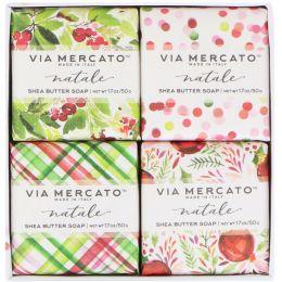 European Soaps, LLC, Via Mercato, Natale, Shea Butter Soaps Set, 4 Soaps, 50 g Each