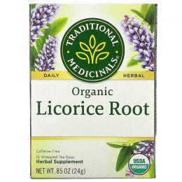 Traditional Medicinals, Herbal Teas, органический корень солодки, без кофеина, 16 упакованных пакетиков, .85 унц. (24 г)