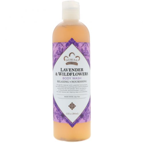 Nubian Heritage, Body Wash, Relaxing & Nourishing, Lavender & Wildflowers, 13 fl oz (384 ml)