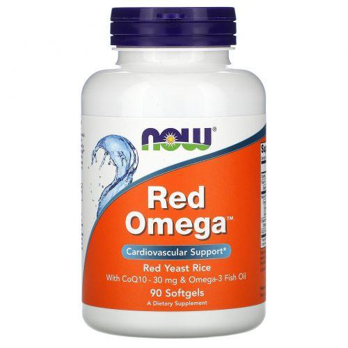 Now Foods, Red Omega, Красный ферментированный рис, с CoQ10, 90 капсул