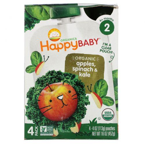 """Nurture Inc. (Happy Baby), """"Простые комбинации"""" из серии """"Органика для счастливого малыша"""", органическое детское питание со шпинатом, яблоком и кудрявой капустой, 2 этап, 4 пакета по 4 унции (113 г)"""
