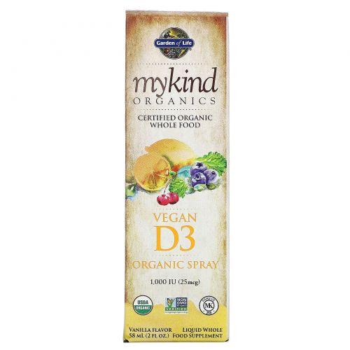 Garden of Life, Kind Organics, Веганский D3, ванильный спрей, 2 унции (60 мл)