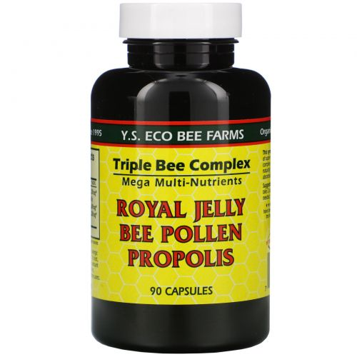 Y.S. Eco Bee Farms, Royal Jelly, пчелиная пыльца, прополис, 90 капсул