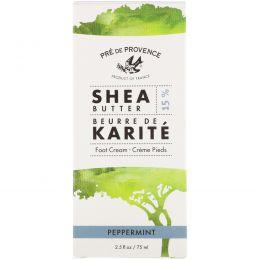 European Soaps, LLC, Pre de Provence, Shea Butter Foot Cream, Peppermint, 2.5 fl oz (75 ml)