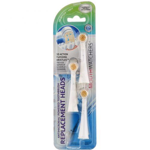 Dr. Plotka, MouthWatchers, сменные головки для противомикробной вращающейся зубной щетки, упаковка из 3 штук