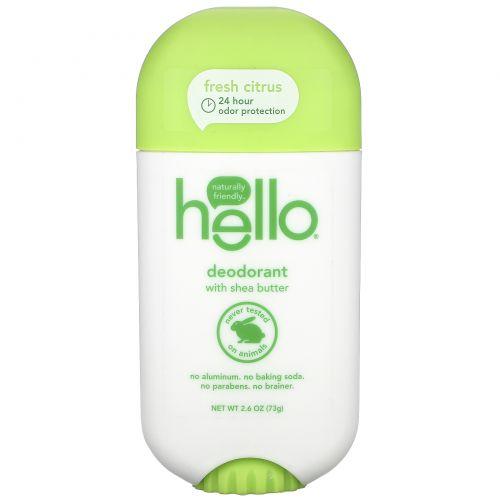 Hello, Deodorant with Shea Butter, Fresh Citrus, 2.6 oz (73 g)