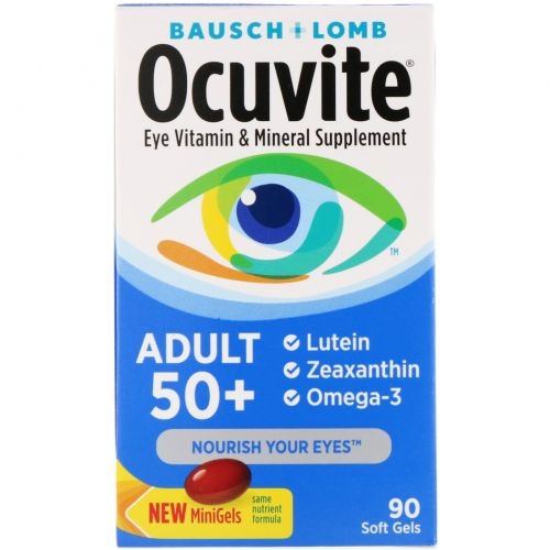 Bausch & Lomb Ocuvite, Витаминная и минеральная добавка для глаз, для взрослых от 50 лет, 90 мягких желатиновых капсул