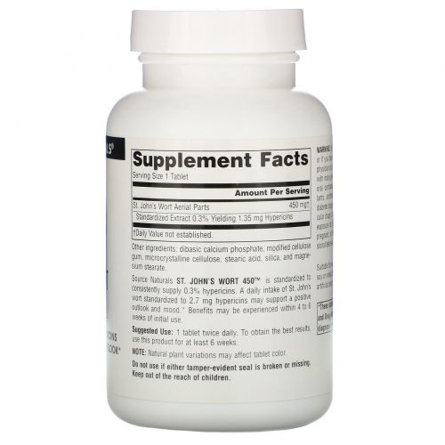Source Naturals, Зверобой 450, 450 мг, 180 таблеток