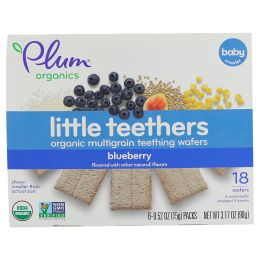Plum Organics, Little Yums, органические вафли для прорезывания, голубика и инжир, 6 пакетов, 14,1 г (0,5 унций) каждый