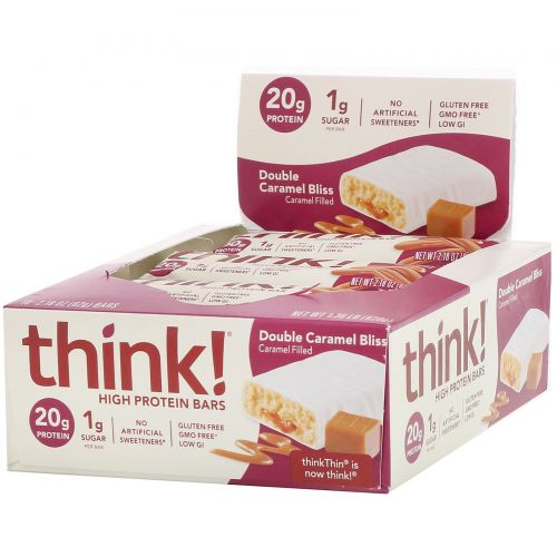 ThinkThin, High Protein Bars, Double Caramel Bliss, 10 Bars, 2.18 oz (62 g) Each