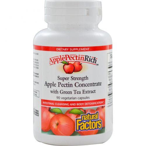 Natural Factors, ApplePectinRich, супер сильный концентрат яблочного пектина, 90 растительных капсул