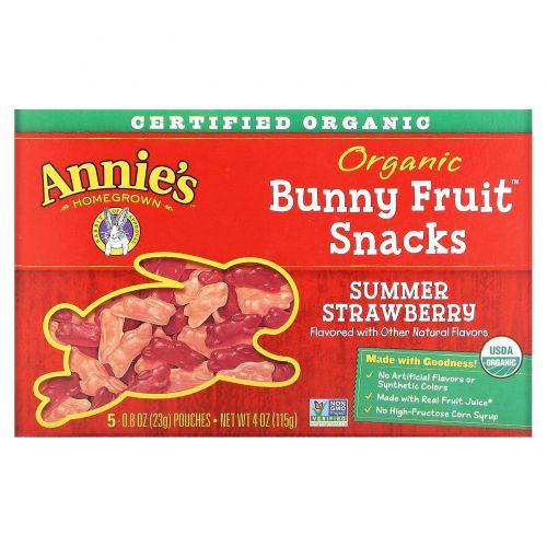 Annie's Homegrown, Органические фруктовые закуски Bunny , со вкусом летней клубники, 4 унции (115 г)