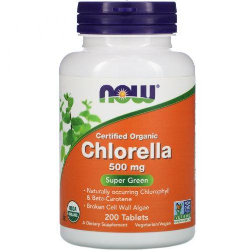 Now Foods, Сертифицированная натуральная хлорелла, 500 мг, 200 таблеток