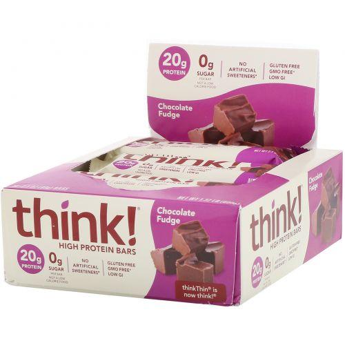 ThinkThin, Протеиновый батончик, шоколадная помадка, 10 батончиков, 60 г (1,1 унция) каждый