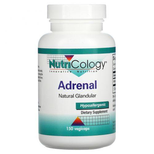 Nutricology, Adrenal, Natural Glandular, 150 растительных капсул