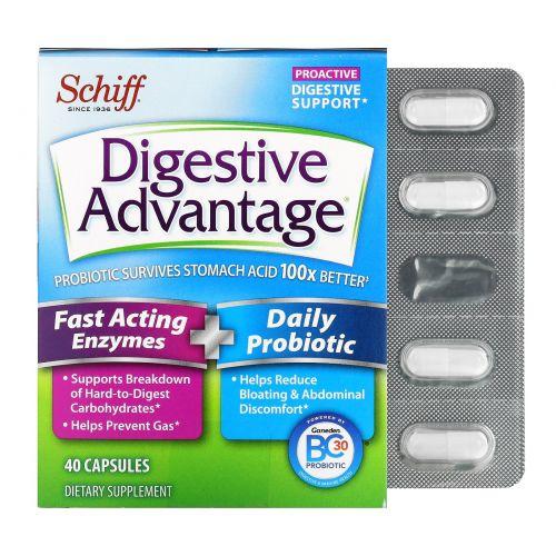 Schiff, Добавка для улучшения пищеварения Digestive Advantage, быстродействующие ферменты + ежедневный пробиотик, 40капсул