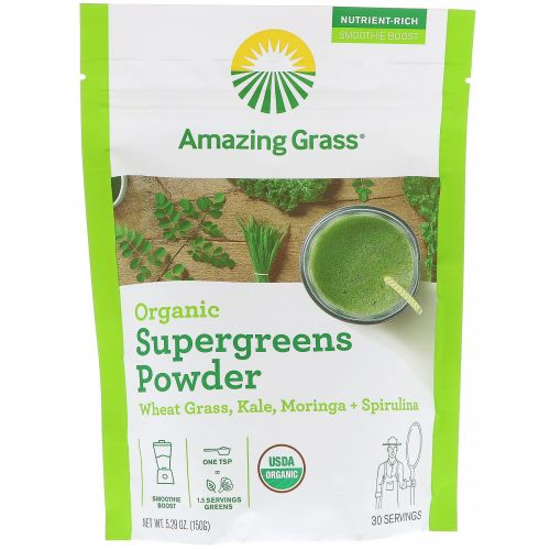 Amazing Grass, Organic SuperGreens Powder, 5.29 oz (150 g)