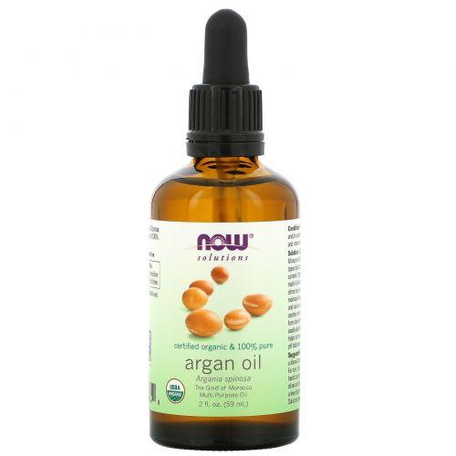 Now Foods, Now Foods, Solutions, натуральное аргановое масло, 2 жидких унции (59 мл)