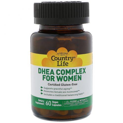 Country Life, Комплекс ДГЭА (дегидроэпиандростерона), для женщин, 60 вегетарианских капсул