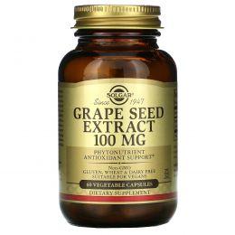 Solgar, Экстракт семян винограда, 100 мг, 60 капсул на растительной основе